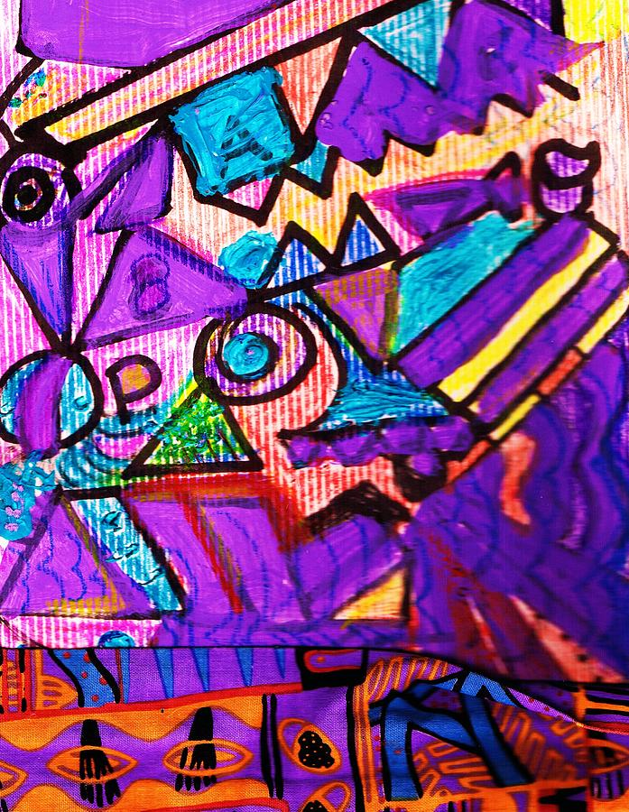 Purple Mixed Media - Spontaneous Composition Abstract With Crayons by Anne-Elizabeth Whiteway