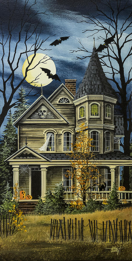 Halloween Painting - Spooky Yellow House by Debbi Wetzel