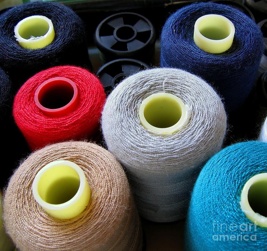 Yarn Photograph - Spools Of Yarn by Yali Shi