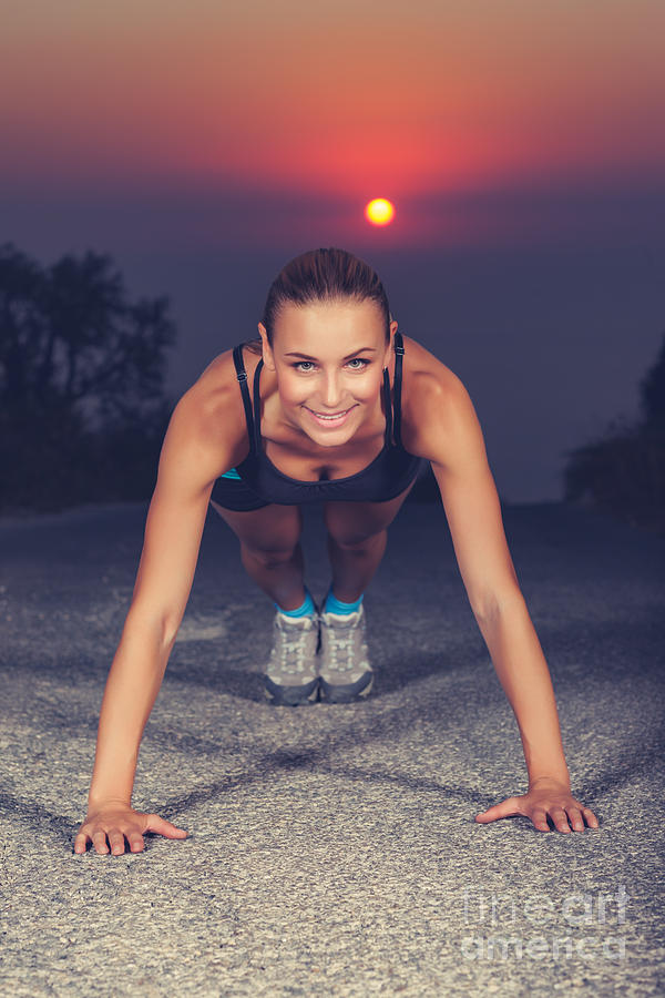 Active Photograph - Sportive Woman Doing Pushups Outdoors by Anna Om