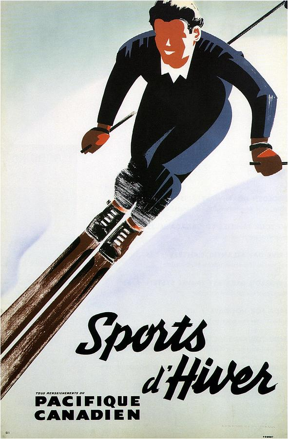 Sports Dhiver - Winter Sport - Skiing - Pacifique Canadien - Retro Travel Poster - Vintage Poster Mixed Media