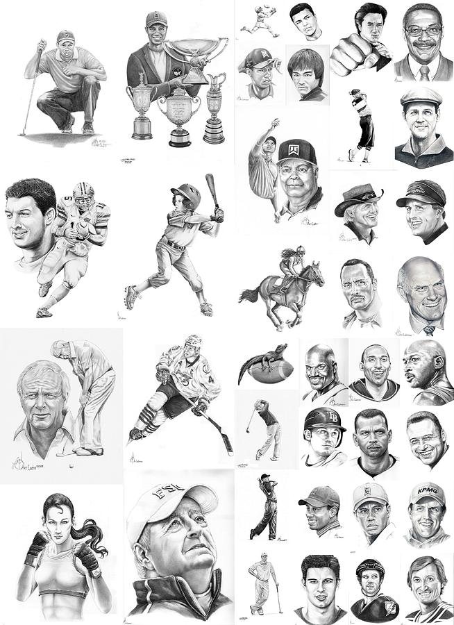 Pencil Drawing - Sports Figures Collage by Murphy Elliott