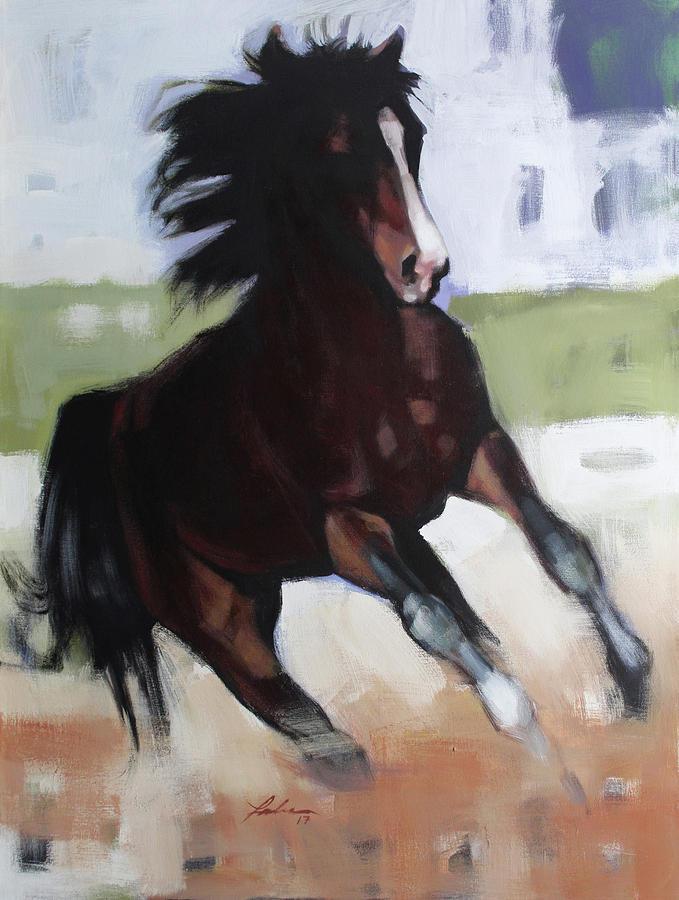 Horse Painting - Spot Light by Farhan Abouassali