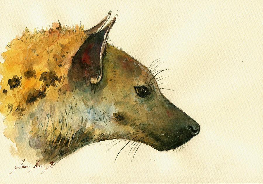 Hyena Animal Painting - Spotted Hyena Animal Art by Juan  Bosco