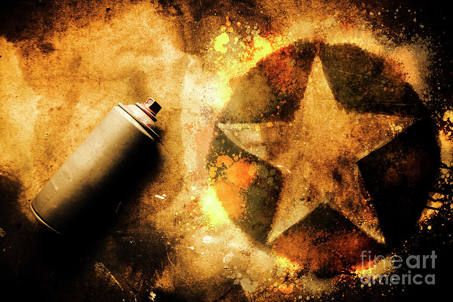Spray Can With Army Star Graffiti Photograph by Jorgo Photography ...