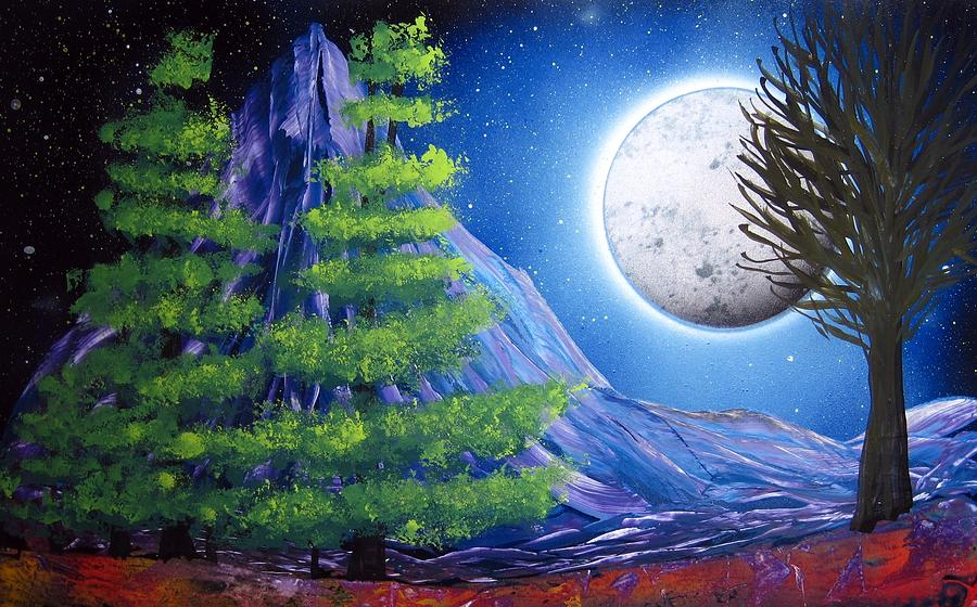 spray paint art night landscape with trees painting by emily cummings
