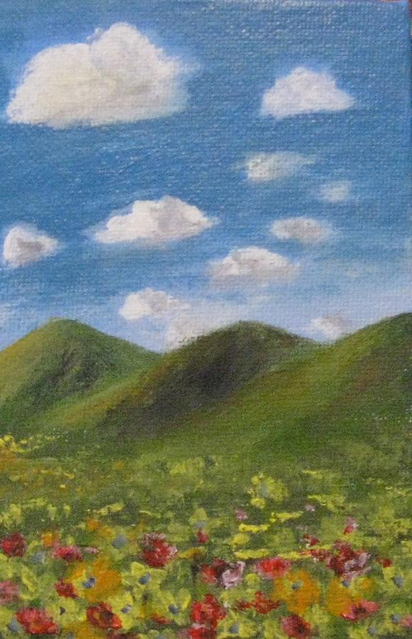 Mountains Painting - Spring 2009 by Trilby Cole