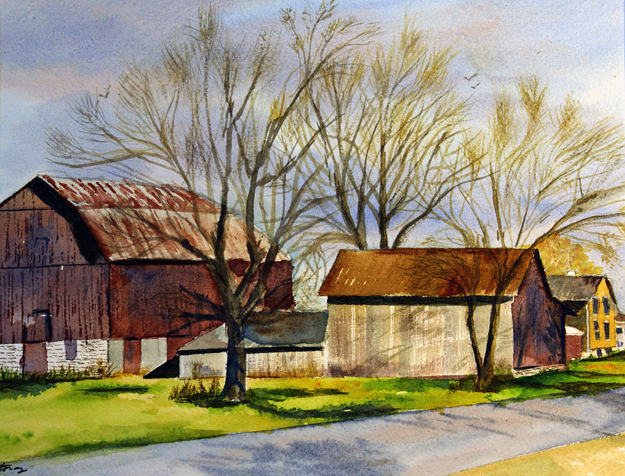 Landscape Painting - Spring At The Farm by Tina Storey