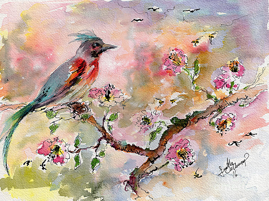 Spring Bird Fantasy Watercolor  Painting by Ginette Callaway