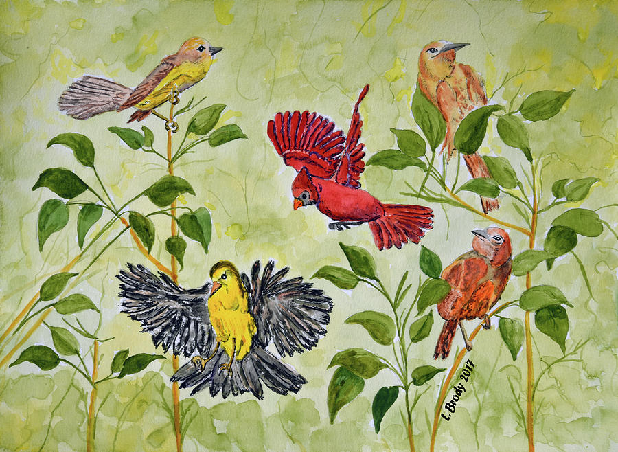 Spring Birds Watercolor Painting