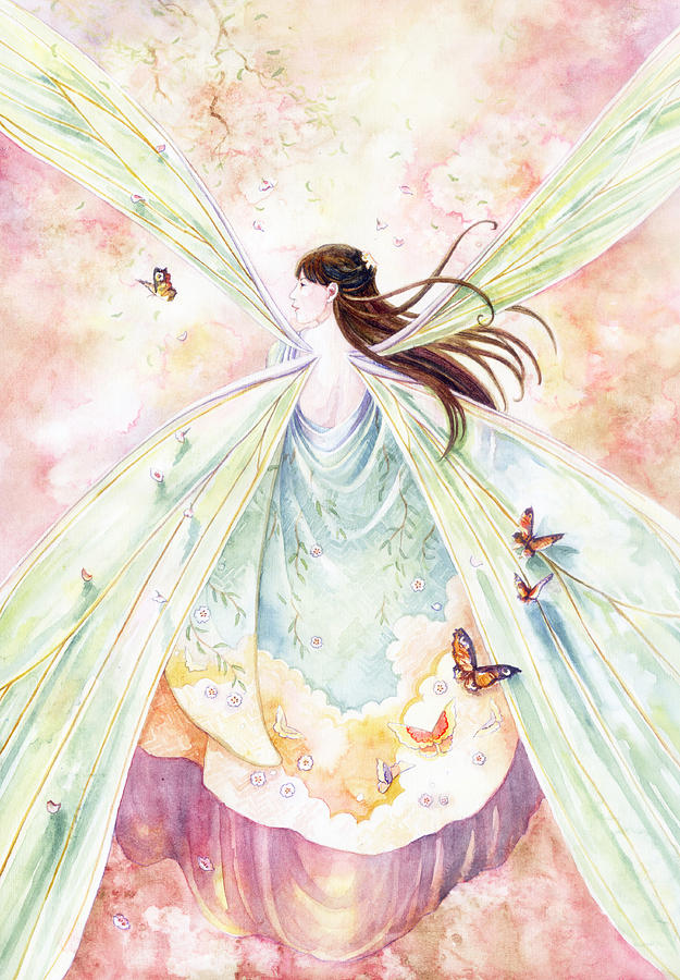 Fairy Painting - Spring Blossoms by Janet Chui
