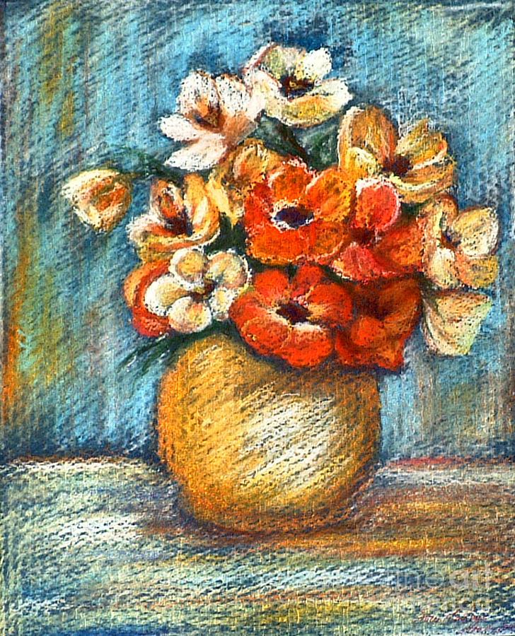 Stilllife Drawing - Spring Bouquet by Enzie Shahmiri