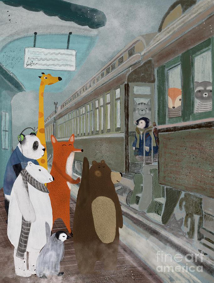 Trains Painting - Spring Break by Bri Buckley