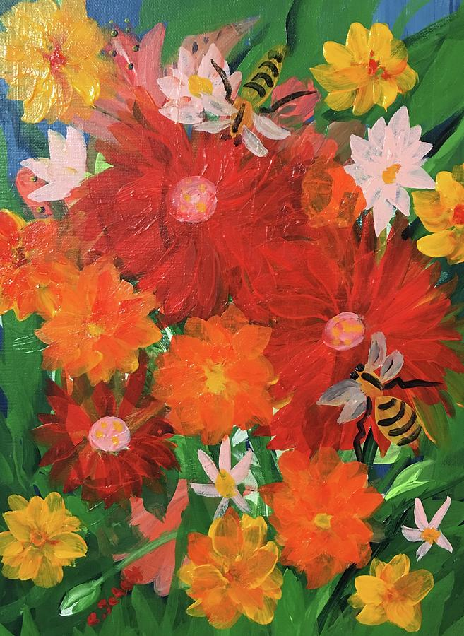 Bees Painting -  Bumble Bees by Christina Schott
