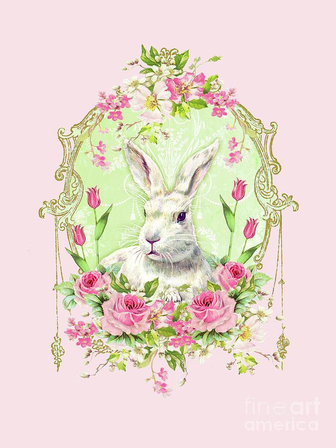 Rabbit Digital Art - Spring Bunny by Wendy Paula Patterson