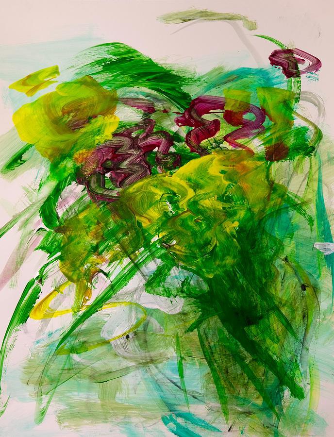 Green Painting - Spring Bursting by Barbara Rose Brooker