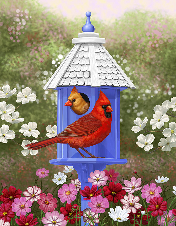 Wild Birds Painting - Spring Cardinals by Crista Forest