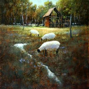 Spring City Sheep Painting by Shirley McKay