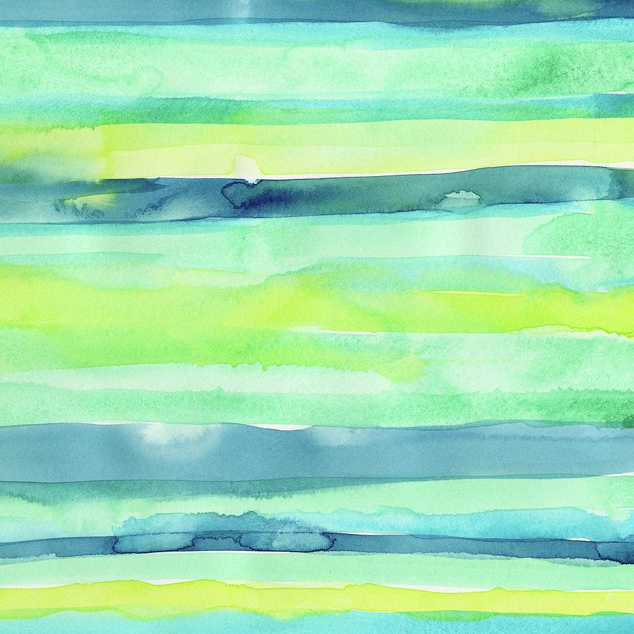 Pattern Painting - Spring Colors Pattern Horizontal Stripes by Olga Shvartsur
