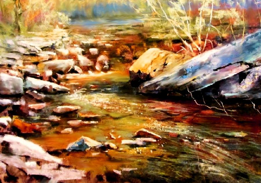 Spring Creek Glow Painting by Joseph Barani