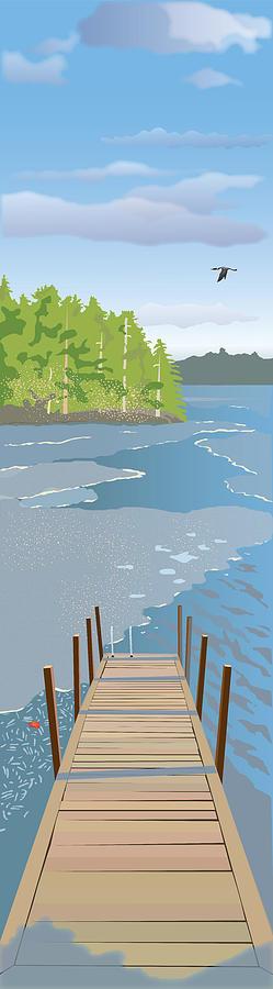 Water Painting - Spring Dock by Marian Federspiel