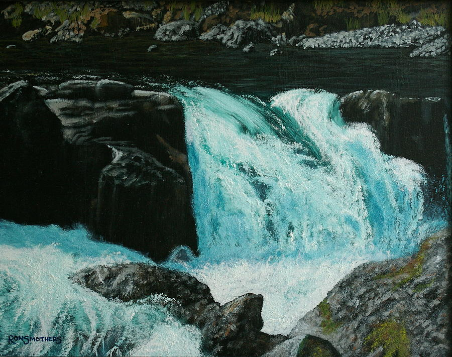 Waterscape Painting - Spring Falls by Ron Smothers