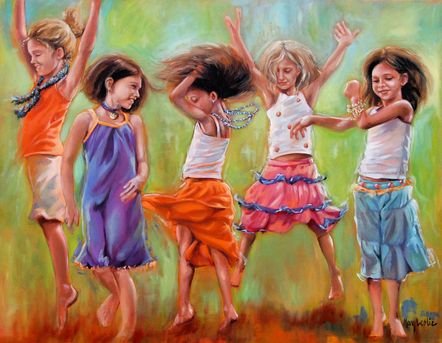 Dancing Girls Painting - Spring Fever by Mary Leslie