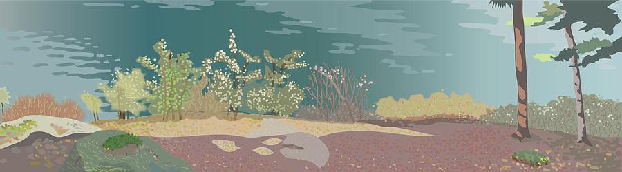 Spring Digital Art - Spring Flora On Lake Shore by Marian Federspiel