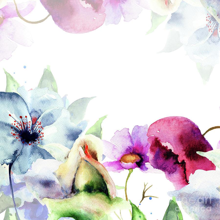 Spring Floral Background Painting By Regina Jershova