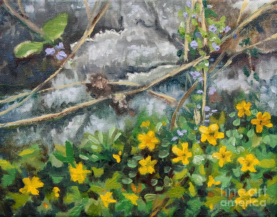 Spring flowers and the old wall painting by hilary england landscape painting spring flowers and the old wall by hilary england mightylinksfo