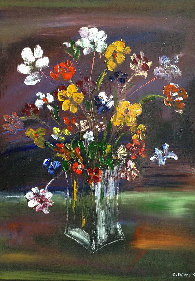 Spring Painting - Spring Flowers In Vase by Roger Davey