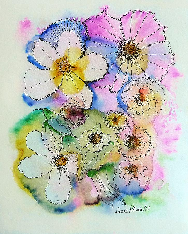Spring Flowers Watercolor Painting by Diane Palmer