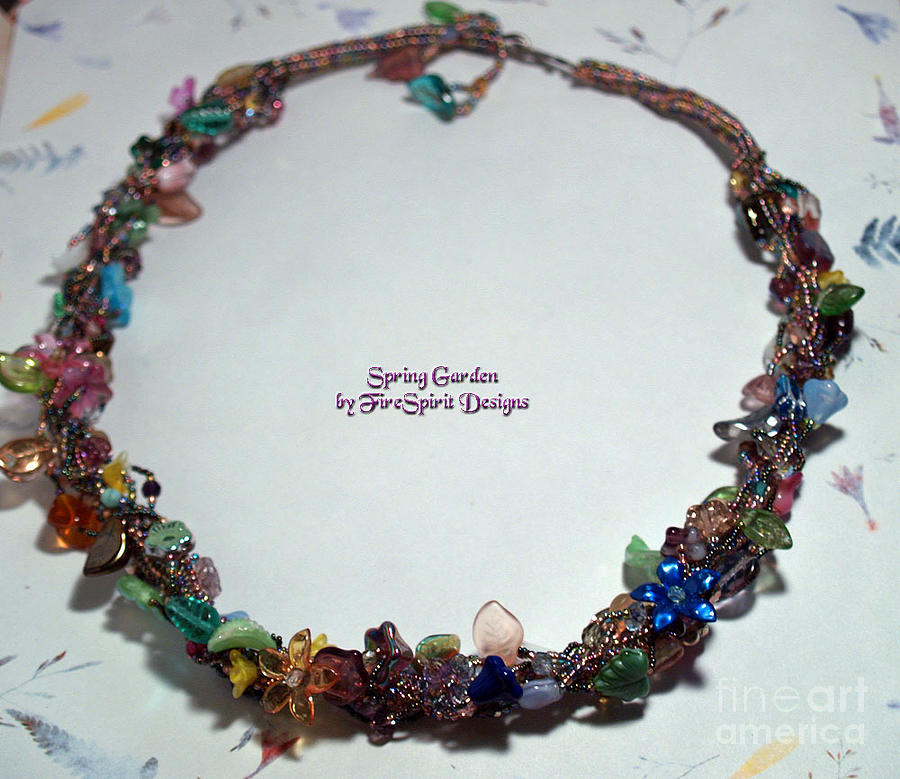 Beadwoven Necklace Tapestry - Textile - Spring Garden-sold by Patricia Griffin Brett