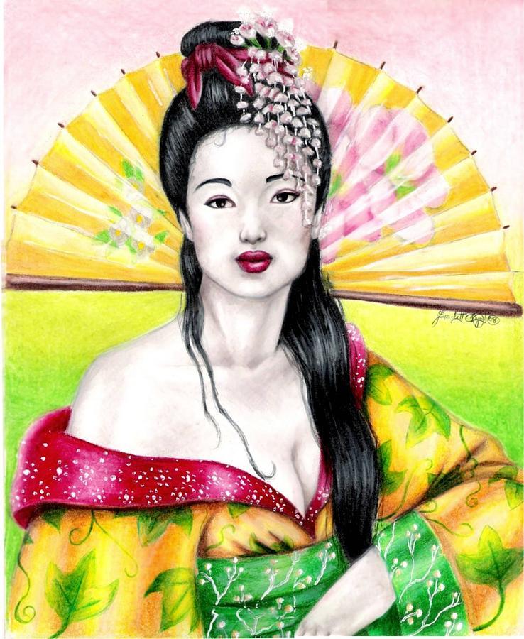 Geisha Drawing - Spring Geisha by Scarlett Royal