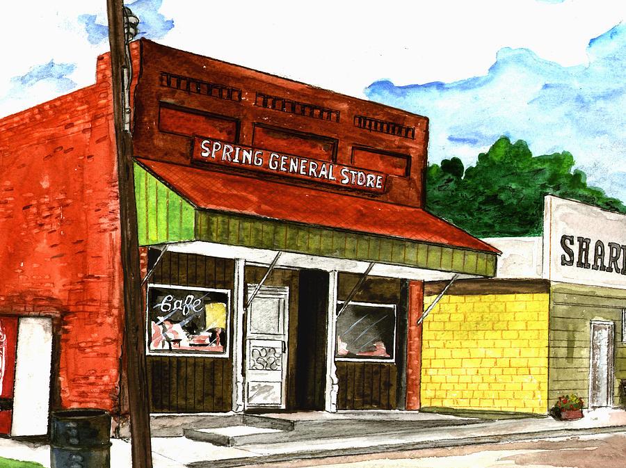 Kevin Callahan Painting - Spring General Store Sharpsburgh Iowa by Kevin Callahan