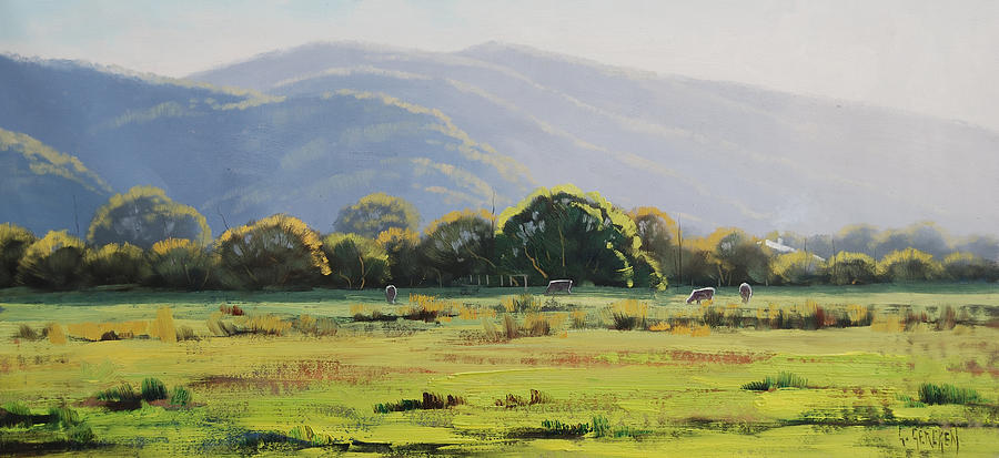 Nature Painting - Spring Grazing Tumut Australia by Graham Gercken