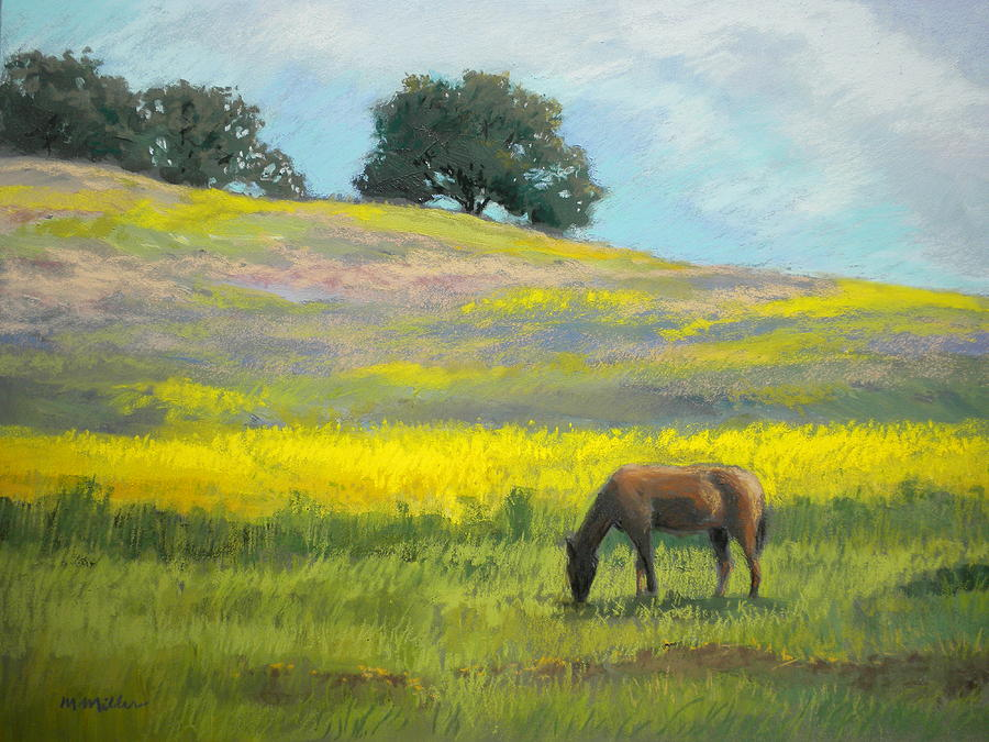 Horse Painting - Spring Hill Grazing by Maralyn Miller