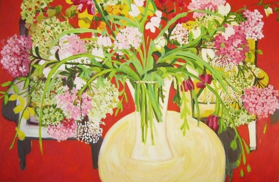 Floral Painting - Spring Hydrangea by Amal Hamady