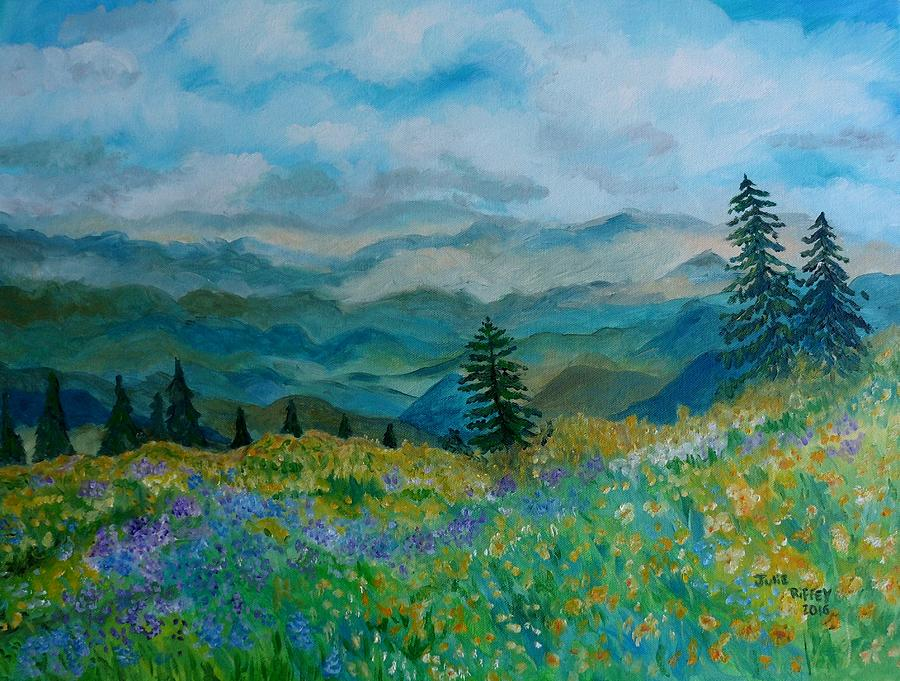 Spring In Bloom - Mountain Landscape by Julie Brugh Riffey