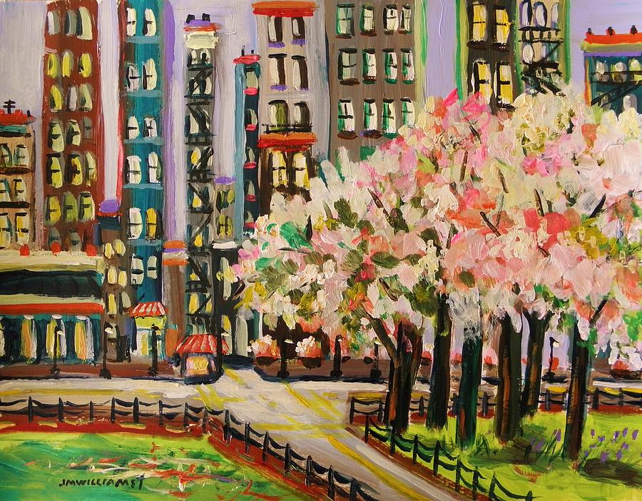 Flowering Trees Painting - Spring In The City by John Williams