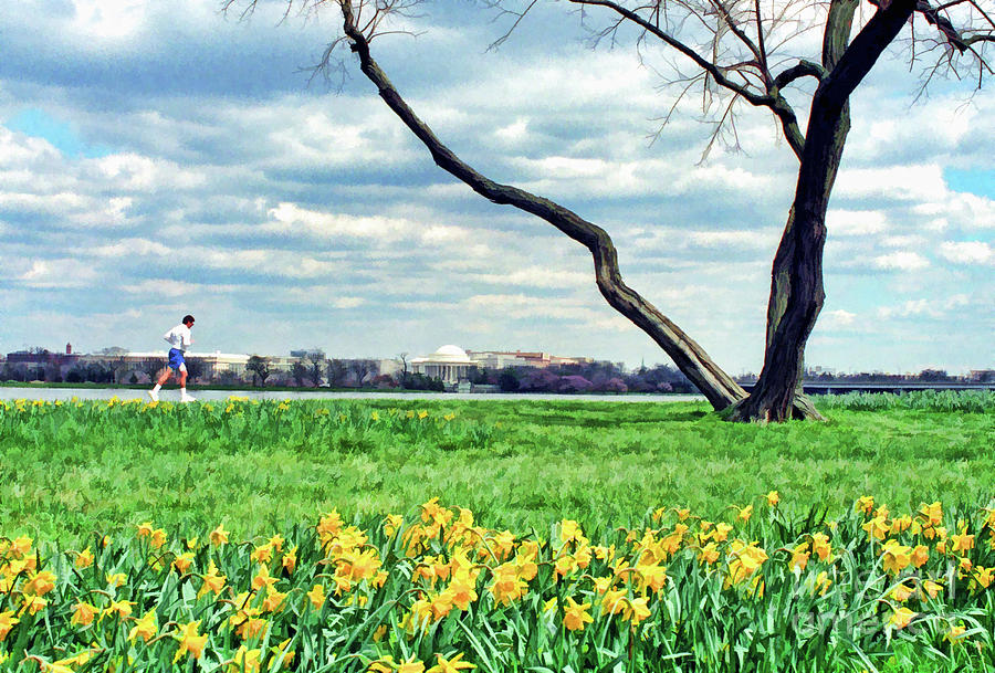 Jefferson Photograph - Spring Jog On The Potomac by Allen Beatty