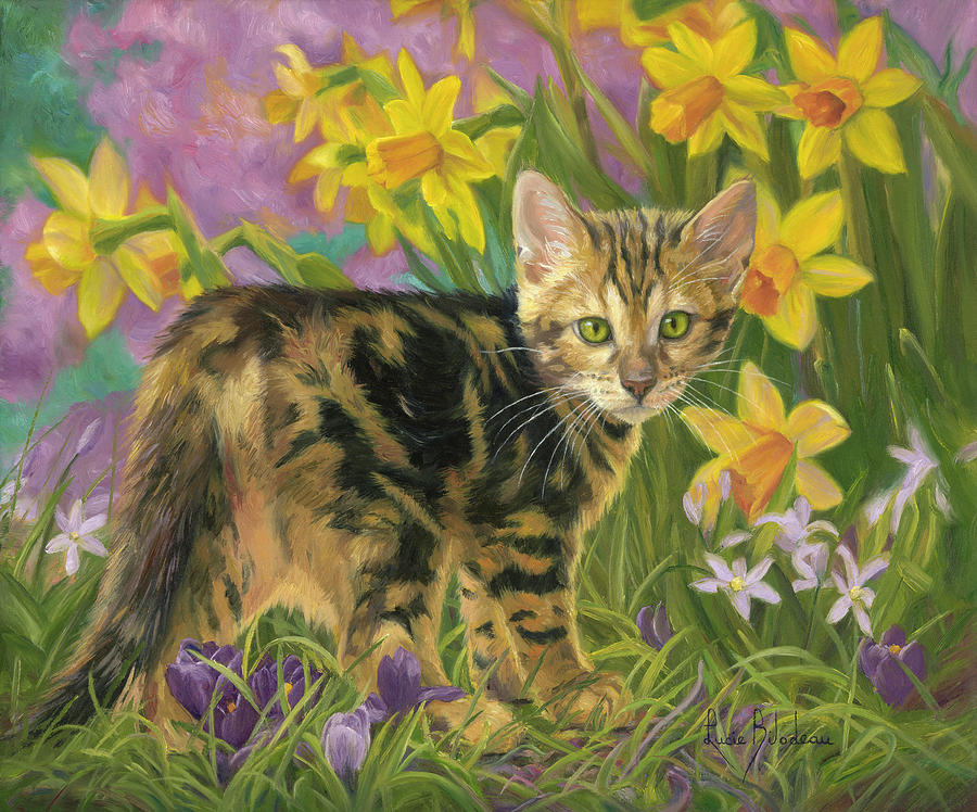 Cat Painting - Spring Kitten by Lucie Bilodeau