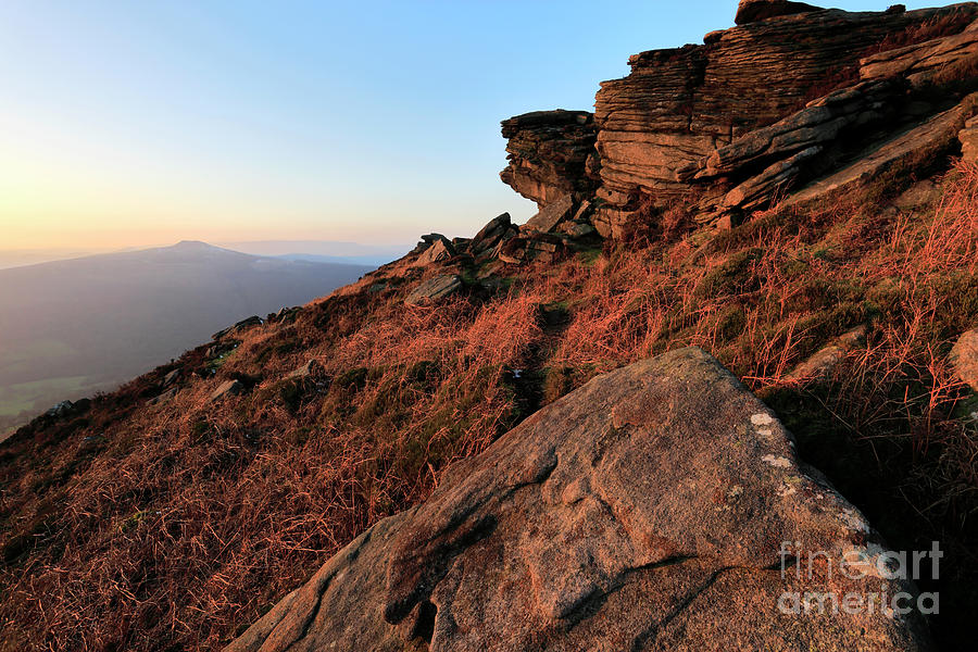Stanage Edge Photograph - Spring Landscape, Gritstone Rock Formations, Stanage Edge by Dave Porter