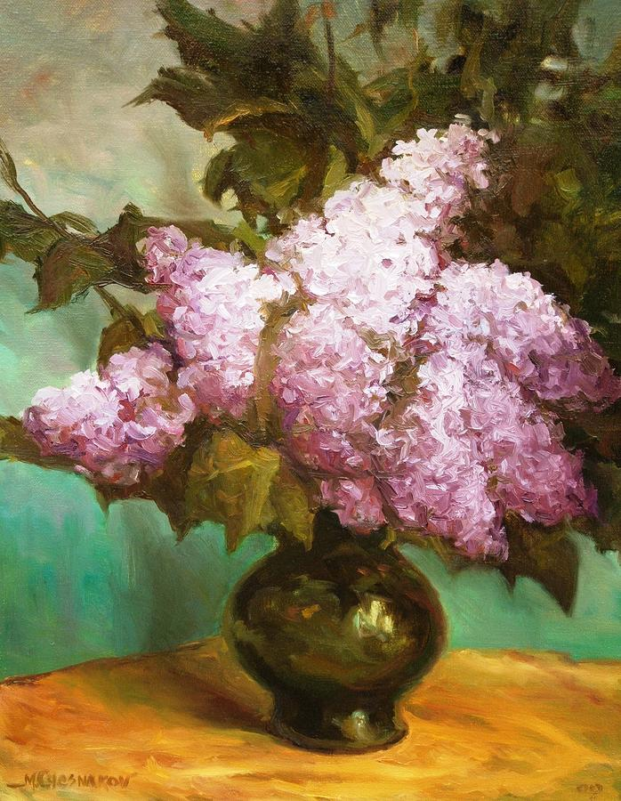 Lilacs Painting - Spring Lilacs by Michael Chesnakov