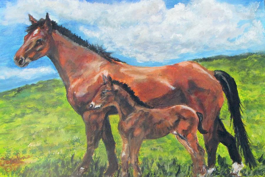 Horses Painting - Spring Love by Caroline Owen-Doar