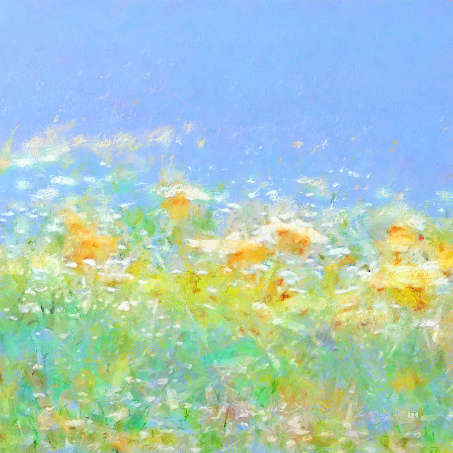 Spring Abstract Painting - Spring Meadow Abstract by Menega Sabidussi