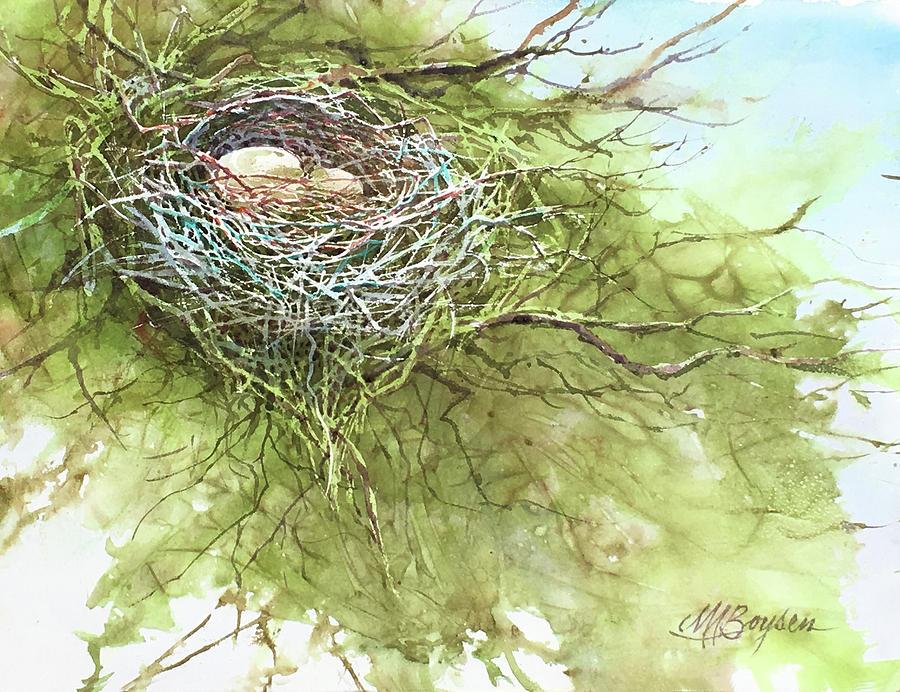Bird Nest Painting - Spring Omelet by Maryann Boysen