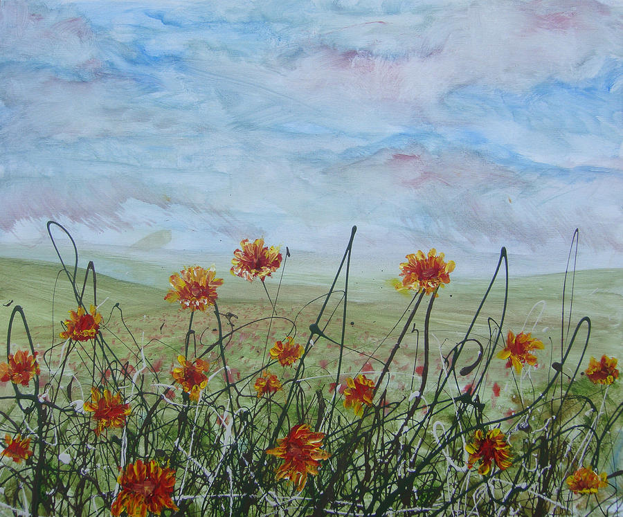 Landscape Painting - Spring Orange Flowers by Ben Kelley