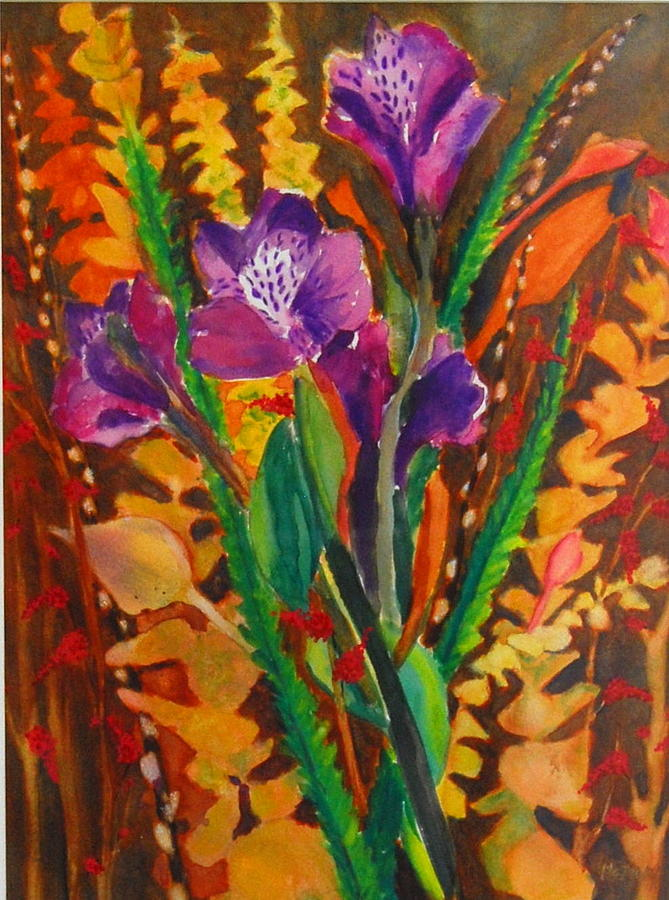 Abstract Floral Painting - Spring Purple Bouquet by Henny Dagenais