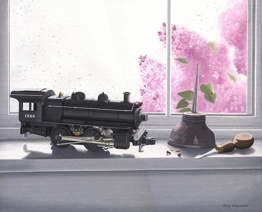 Lionel Painting - Spring Rain  Electric Train by Gary Giacomelli